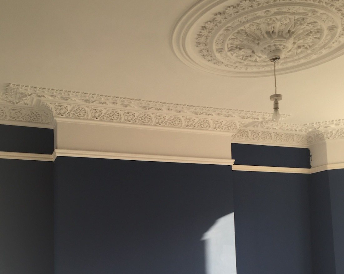 Yacht Blue and Wevet painted period features in a Victorian home